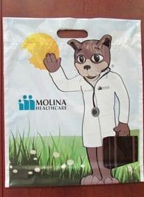 Molina Healthcare Custom Printed Plastic Bags