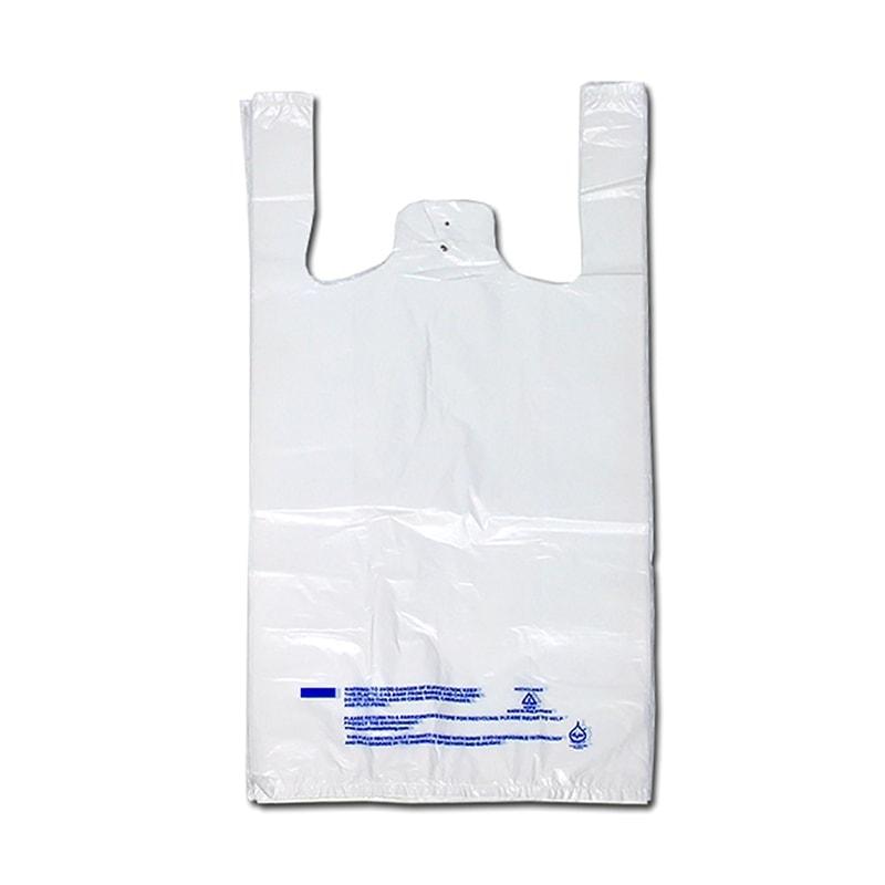 "8"" X 5"" X 18"" White Plastronic® T-Shirt Bag"